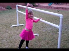 How to make a ballet barre from pvc piping.... will make slightly shorter for my girls but I like the idea of making the barre slightly portable