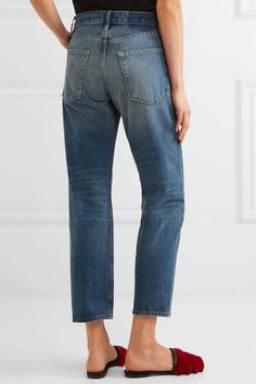 FRAME - Le Original Cropped High-rise Straight-leg Jeans - Blue - 32