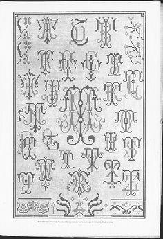 Cross stitch monograms and borders, some Art Nouveau.   (visit site for bigger picture)  Gracieuse. Geïllustreerde Aglaja, 1904, aflevering 1, pagina 11