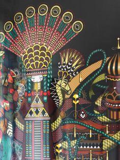 Um poster com um motivo colorido de arte de rua, criado por Guillaume & Coralie Grando, também conhecidos como Koralie Supakitch, de França.