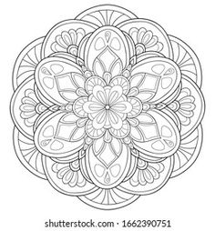 Imágenes similares, fotos y vectores de stock sobre Black and white mandala vector isolated on white. Vector hand drawn circular decorative element. ; 1172090395 | Shutterstock Free Vector Images, Vector Free, Adult Coloring, Coloring Books, 2 Colours, Royalty, Colouring In, Drawings, Amor