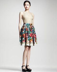 59e9bd4933aa Sleeveless Lace Top & Floral-Print Linen Skirt - Neiman Marcus Africa Day,  South