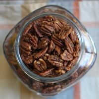 Spiced nuts! These make fantastic host/hostess gifts (see photo below), as well as a simple snack or holiday appetizer.