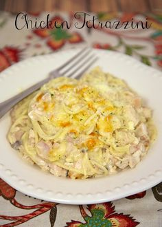 Chicken Tetrazzini - chicken, alfredo, cream of mushroom, parmesan cheese and pasta - ready to go in the oven in less than 10 minutes! Super quick to make and tastes great!