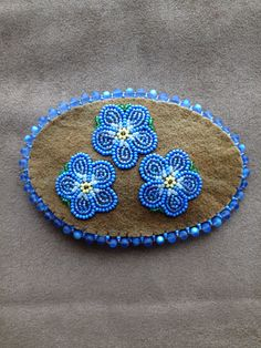 Medium Leather Barrette with Forget-Me-Nots by Alaska Beadwork