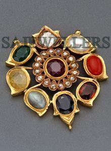 navratna pendant in 22ct gold