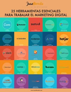 25 herramientas esenciales para trabajar el Marketing Digital #infografia #marketing #temasclase