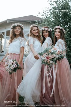 Blush Palette Bridesmaids Separates: Blush/Dark Blush/Biscuit Blush Waterfall Tulle Skirt and Belle Lace Top with Silk Under top Plus Size by StylishBrideAccs on Etsy Tulle Wedding, Lace Weddings, Wedding Dresses, Tent Wedding, Wedding Bells, Boho Wedding, Dream Wedding, Tulle Lace, Tulle Dress