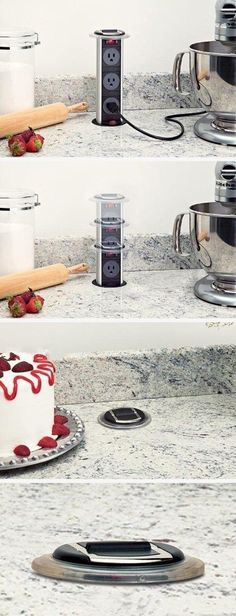Pop Up outlets.  Great idea for a kitchen to maximize counter space and be less limited in where to use small appliances.