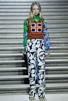 This is the vest I'm talking about -- the Lion Brand pattern is this with a little less shaping. Miu Miu Resort 2015