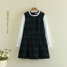 Storyland - Long-Sleeve Plaid Panel Dress