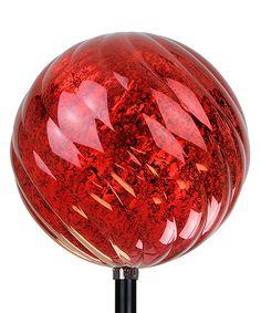 Loving this Solar Red Spiral Orb Stake on #zulily! #zulilyfinds