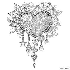 Vector: Hand drawn heart shape floral dream catcher for coloring book for adult or decorations for valentine's day