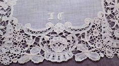 2 Antique Lace Hankies: DUCHESSE + DUCHESSE / POINT DE GAZE Inserts Monogram   eBay