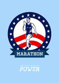 American Marathon Runner Power Poster by patrimonio