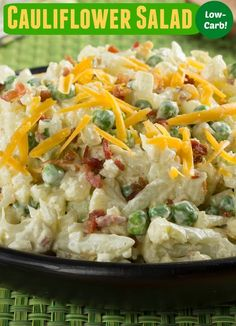 Cauliflower Salad   For potato salad lovers who are watching their carbs, this faux salad is the best! This creamy Cauliflower Salad is loaded with cheese, peas, bacon, and onion.