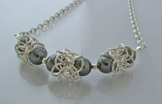 Silver and Gray Pearl Chainmaille Bridal Necklace by jcwirejewelry, $160.00