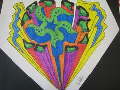 I point perspective designs for middle school students.  Some classes I go with traditional bird's eye city, and other 1 point lessons I have them do this....create shapes, and have fun with the colors.