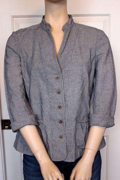 BANANA REPUBLIC Blue Striped 3/4-Sleeve Washable Linen Blend Blazer Jacket 12 in Clothing, Shoes & Accessories, Women's Clothing, Coats & Jackets   eBay