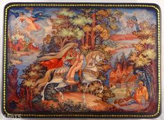 LACQUER-BOX-Palekh-RUSSIA-RUSLAN-and-LUDMILA-FAIRYTALE-by-PUSHKIN