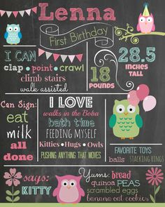 Owl Chalkboard - Pastels - Pink and Green Owl First Birthday, 1st Birthday Gifts, Elephant Birthday, First Birthday Chalkboard, Owl Birthday Parties, Birthday Board, Baby Birthday, Birthday Ideas, Owl 1st Birthdays