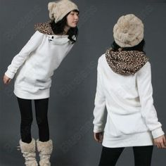 Discount China china wholesale Women Ladies White Autumn Winter Loose Hoodie Sweater Coat Lapel Leopardskin Hat [31308] - US$16.86 : DealsChic