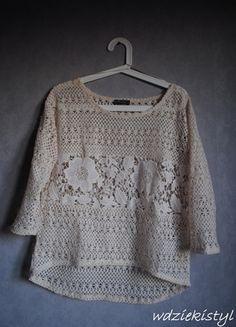 Kup mój przedmiot na #vintedpl http://www.vinted.pl/damska-odziez/bluzki-z-3-slash-4-rekawami/12050397-bluzka-azurowa-kremowa