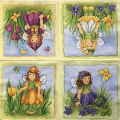 Rare Set of 2(two)napkins Girls&Flowers  for decoupage,decoupage, under glass,mixed media,scrapbooking and other art and crafts door Dalilasdecoupage op Etsy