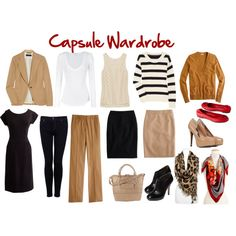 Capsule Wardrobe-Using neutrals as a base with a few fun accessories.