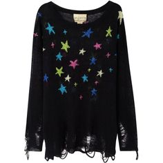 Wildfox Night-Time Lennon Star Shredded Jumper (£300) ❤ liked on Polyvore featuring tops, sweaters, shirts, jumper, blusas, black and other, star jumper, colorful shirts, cuff shirts and multi color sweater