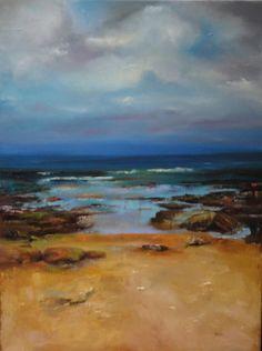 Paisagem marinha inspirada em trabalho de Ken Knight - Pintura a óleo sobre tela a pincel e espátula - última etapa (2/10/15) (*)