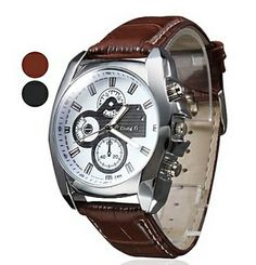 Men's Silver Case Leather Band Quartz Analog Wrist Watch (Assorted Colors)  $10.78