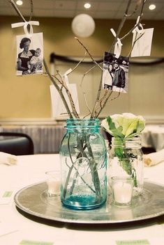 13 Rustic Mason Jar Centerpieces To Try - * Decoration * my Gusto - Celebration Picture Centerpieces, Mason Jar Centerpieces, Diy Party Centerpieces, Vintage Table Centerpieces, Jar Centerpiece Wedding, Fish Centerpiece, Quinceanera Centerpieces, Simple Centerpieces, Centerpiece Ideas