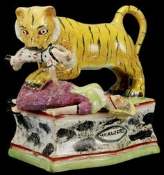 Tiger attack - Staffordshire Figurine (1700's)