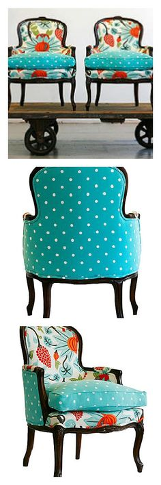 old chairs new fabric!