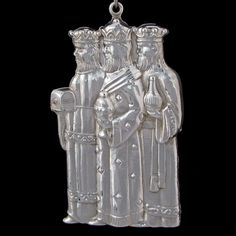 """Gorham Three Wisemen Sterling Ornament, with Gorham box and flannel bag. The ornament measures 3.5"""" high and is Not dated."""