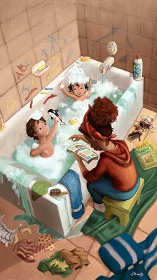 "My Illustration Process for ""Bathtime"" Mother Daughter Art, Mother Art, Mother And Child, Cute Girl Drawing, Drawing For Kids, Family Illustration, Cute Illustration, Character Drawing, Character Design"