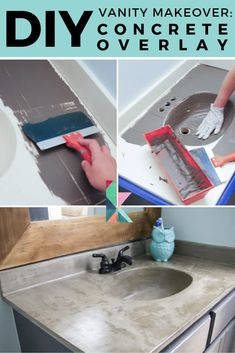 Come check out this amazing DIY vanity makeover! You can transform your outdated vanity with concrete for less than $50 #diyvanity #diyvanityideas #diyvanitymakeoverbathroom #vanityconcretetop #vanityconcreteoverlay