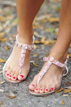 Jeweled flat sandals, new arrivals, latest collection.