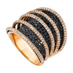 Black and White Diamonds set in Rose Gold form a beautiful Spiral Band Ring