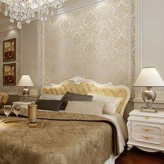 10 m x 53 cm Rolo Do Vintage Bege Branco Azul Floral Do Damasco Papel de Parede Não-tecido de Ouro Papel De Parede Sala de Estar Projeto do quarto Em Relevo Texturizado