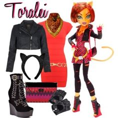 Toralei Cute Emo Outfits, Swag Outfits, Monster High Clothes, Monster High Characters, Monster High Party, Bottle Charms, My Outfit, High Fashion, Halloween Costumes