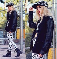 Bebe from Fated to be Hated rocks our spiked leather sleeved jacket! Shop here >> http://www.boohoo.com/restofworld/clothing/coats-jackets/icat/coatsandjackets/all-coats/ella-stud-jersey-baseball-jacket-with-pu-sleeves/invt/azz54322 Read her post here >> http://lookbook.nu/bebezeva