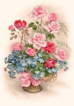 Pink roses and blue forget-me-nots make a lovely vintage image. Vintage Prints, Floral Vintage, Vintage Flowers, Vintage Greeting Cards, Vintage Ephemera, Vintage Paper, Vintage Postcards, Vintage Clip, Art Floral
