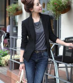 Hot Fashion Women's One Button Slim Casual Business Suit Jacket Coat Outwear Heiße Mode Frauen One Button Slim Casual Business Anzug Jacke Mantel Outwear Casual Work Outfits, Work Attire, Work Casual, Casual Chic, Summer Business Casual Outfits, Chic Outfits, Blazers For Women, Suits For Women, Clothes For Women