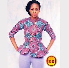 African print classy peplum top, african top ~DKK ~African fashion, Ankara, kitenge, African women dresses, African prints, African men's fashion, Nigerian style, Ghanaian fashion.