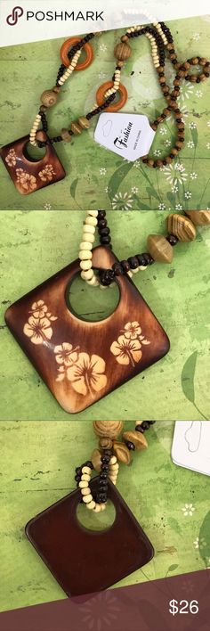 "Boho Ethnic Wooden Beaded Floral Pendant Necklace Gorgeous boho wooden pendant necklace. The necklace is 17 1/4"" long. New in package. Smoke free home. 🌺Thanks for shopping my closet 🌺😊 Jewelry Necklaces"