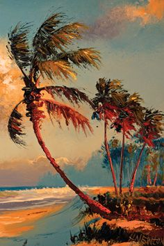 "By Florida Highwayman Harold Newton. there was an exhibit of the Highwayman paintings at the Cummer Museum in Jacksonville, FL. a few years ago- very well done. I bought a really tiny - about 2"" x 4""! - painting done for them by one of the few living artists left."