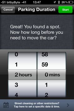 Parking duration (Colonial Parking app)