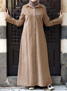I love Corduroy...SHUKR Abaya Fashion, Modest Fashion, Fashion Dresses, Modest Outfits, Casual Dresses, Dress With Cardigan, Shirt Dress, Moslem Fashion, Hijab Style Dress